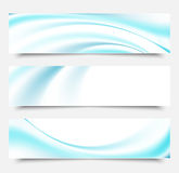 Blue waves and lines on a white background.Set of banners.Abstract vector wave smoke. Royalty Free Stock Photos