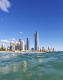 Blue waves rolling on Surfers Paradise beach Stock Images