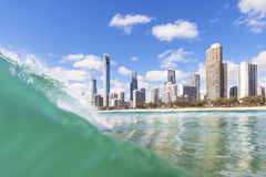 Blue waves rolling on Surfers Paradise beach Royalty Free Stock Photography
