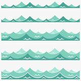 Blue waves sea ocean vector illustration abstract pattern background colorful wallpaper water collection set Stock Image