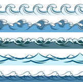 Blue waves seamless vector line patterns Stock Photo