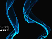 Blue waves  smooth sky abstract background template set Royalty Free Stock Images