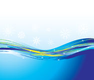 Blue waves and snowflakes. Background Stock Photos