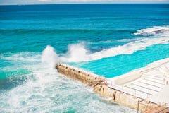 Blue waves splashing into swimming pool Stock Image