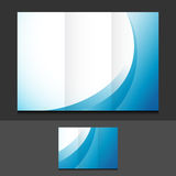 Blue waves trifold template illustration Royalty Free Stock Image
