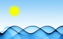 Blue waves under sun. Abstract background with blue waves under sun Royalty Free Stock Images