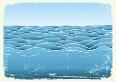 Blue waves.Vector grunge image of Sea Royalty Free Stock Photography
