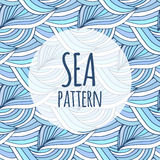 Blue waves vector repeating background. Doodle sea pattern. For textile or packaging design Royalty Free Stock Images