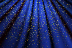 Blue wavy background with shiny stars Stock Photo