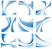 Blue wavy elements set Royalty Free Stock Images