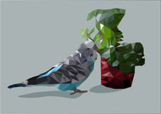 Blue wavy parrot in low poly technique. With a pot of flowers home Royalty Free Stock Image
