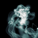 Blue wavy smoke. Over black Royalty Free Stock Image