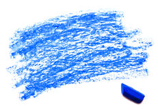 Blue wax crayon isolated on a white Royalty Free Stock Photos