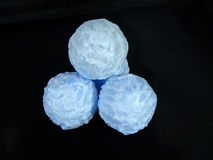 Blue wax spheres. Costing in the form of a pyramid Royalty Free Stock Photo