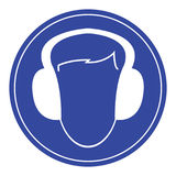 Blue wear ear protectors sign Stock Image