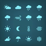 Blue  weather Icon set. Stock Photography