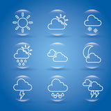 Blue weather icons Stock Images