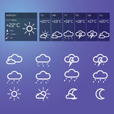 Blue weather widget Stock Photography