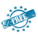 Blue Weathered Free Stamp Circle and Stars design Stock Photos