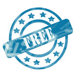 Blue Weathered Free Stamp Circles and Stars. A blue ink weathered roughed up circles and stars stamp design with the word FREE on it making a great concept Royalty Free Stock Photo