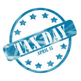 Blue Weathered Tax Day April 15th Stamp Circle and Stars Stock Photo