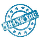 Blue Weathered Thank You Stamp Circles and Stars Royalty Free Stock Photography