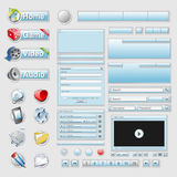Blue web 2.0 interface set Royalty Free Stock Image