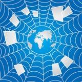 Blue web. Internet web transmits e-mails around the globe icon. Vector illustration Stock Photos