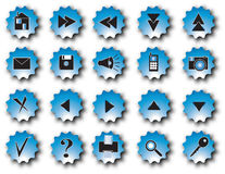 Blue web buttons. 20 blue buttons for website vector illustration