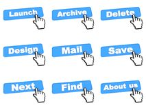 Blue Web Buttons with Hand Cursor. Royalty Free Stock Images