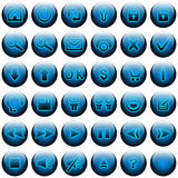 Blue Web Buttons Set. Buttons set for web site and similar. Included one button with clear background, ready for building new buttons Royalty Free Stock Image