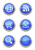 Blue web icons. Web icons with blue shiny round buttons on white. All elements are separate. File is layered Stock Photos