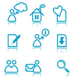 Blue web icons. Web icons - simple blue icon set Stock Photography