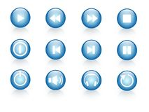 Blue web icons. A set of 12 blue web icons stock illustration