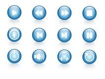 Blue web icons. A set of 12 blue web icons Stock Illustration