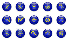 Blue web icons. Illustration of the glassy blue web icons on white Stock Image