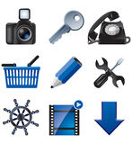 Blue web icons Stock Photography