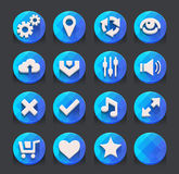 Blue web icons collection Royalty Free Stock Photography