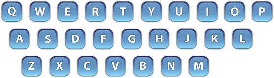 Blue web icons keyboard. The blue web icons of characters keyboard Royalty Free Stock Image