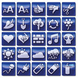 Blue web icons 76 -100 Royalty Free Stock Photography