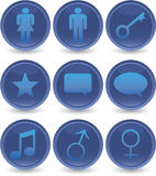 Blue web icons set Royalty Free Stock Image