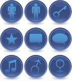 Blue web icons set Royalty Free Stock Image