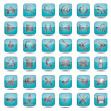 Blue web icons set. Collection of high quality blue web, website icons Royalty Free Stock Image