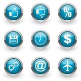 Blue web icons set Stock Image