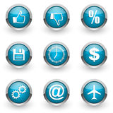 Blue web icons set Royalty Free Stock Photography