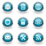 Blue web icons set Royalty Free Stock Photography