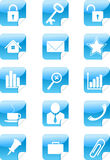 Blue web icons stickers set Royalty Free Stock Photography