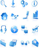 Blue web internet icons Stock Photography