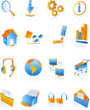 Blue web internet icons Stock Photo