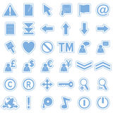 Blue Web Stickers Icons [2]. Set of 36 website and application stickers icons isolated on white background. Blue Web Stickers Icons – Part 2: there are 144 Stock Photo